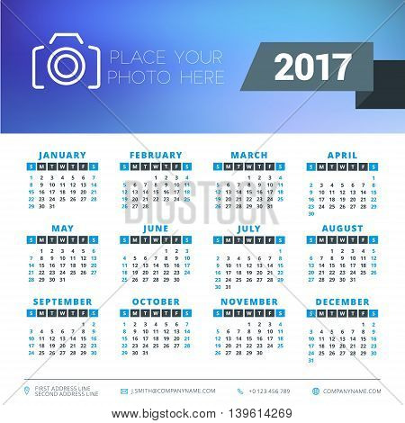 Calendar For 2017 Year. Vector Design Stationery Template. Week Starts Sunday. Flat Style Color Vect