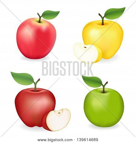 Apples, pink apple, Granny Smith, Red and Golden Delicious varieties, fresh, natural, ripe, orchard garden fruit isolated on a white background.