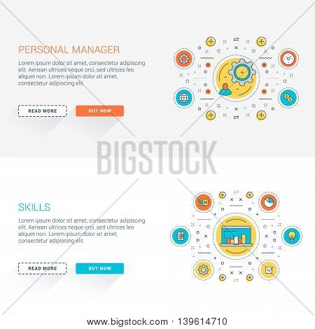 Set of flat line business website banner templates. Vector illustration. Modern thin line icons in circle. Web buttons with long shadow. Personal management. Skills