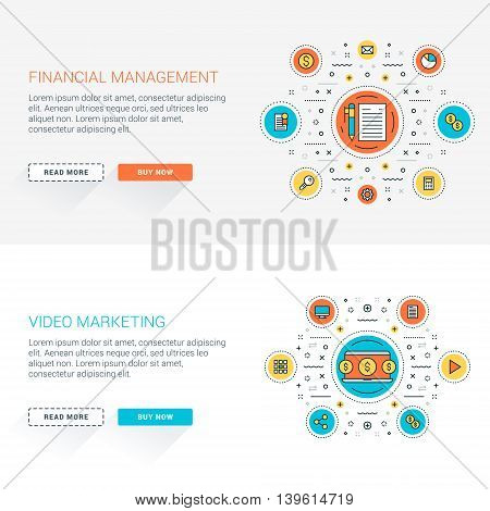 Set of flat line business website banner templates. Vector illustration. Modern thin line icons in circle. Web buttons with long shadow. Financial management. Video marketing