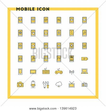 Mobile phone flat design icon set. Mobile phone with icons computer camera cloud game battery. Vector icons. Yellow and black colors