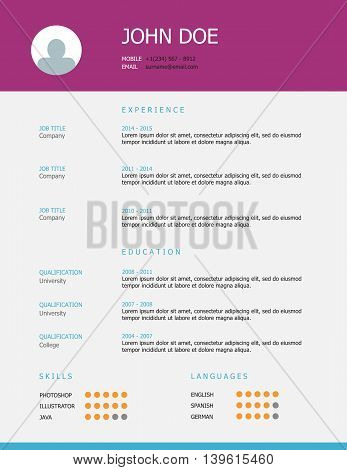 Professional simple styled resume template design with purple and blue headings.