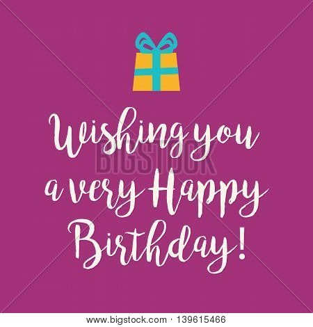 Cute Wishing you a very Happy Birthday greeting card with a handwritten text and an orange wrapped birthday gift with blue ribbon bow on a magenta background.