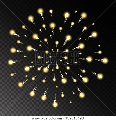 Yellow Fireworks On Chess Style Transparent Background. Vector Illustration