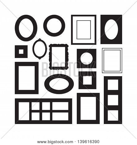 Antique photo frame isolated on white background. Vintage cartoon photo frame picture painting drawing template icon set retro design vector illustration. Stylish wall gallery background