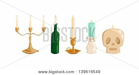 Burning wax Old vintage candles vector illustration. Cartoon candle on white background. Traditional holidays candles isolated vector.