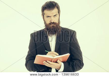 Bearded Man Teacher With Book
