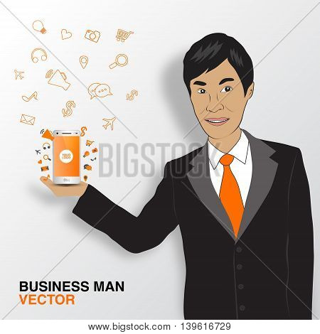 Business man and mobile infographics asian man smile