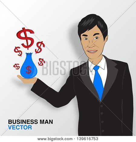 Business man and money infographics asian man smile