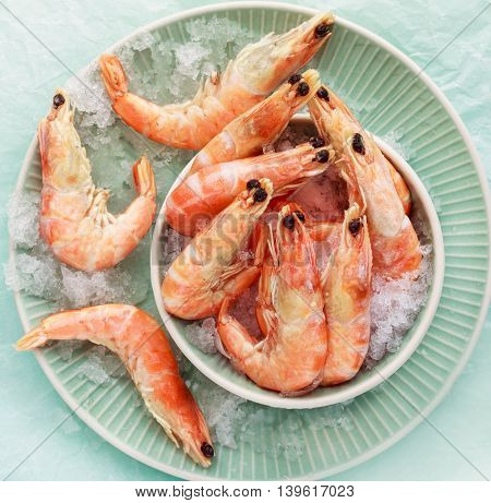 Frozen shrimp on ice on a light background