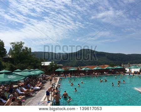 Romania, August 26, 2015, Praid, Transylvania, Salted Baths in a peaceful Summer day