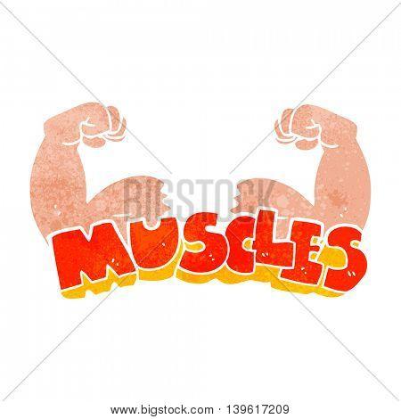 freehand retro cartoon muscles symbol