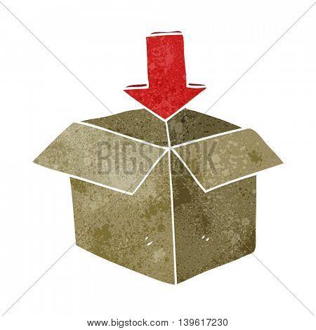 freehand retro cartoon box with arrow download storage symbol