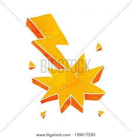 freehand retro cartoon lighting strike symbol