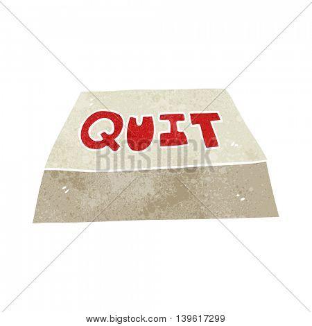 freehand retro cartoon quit button