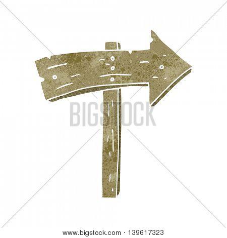 freehand retro cartoon wooden direction arrow