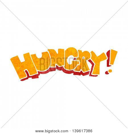 freehand retro cartoon hungry text