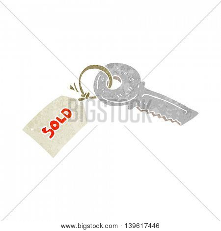 freehand retro cartoon key with sold tag