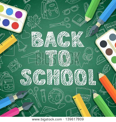 Back To School Vector Sketch Lettering And Color School Supplies Icons.