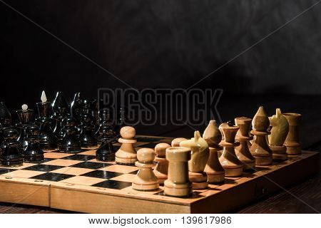 Wooden Chess On The Board