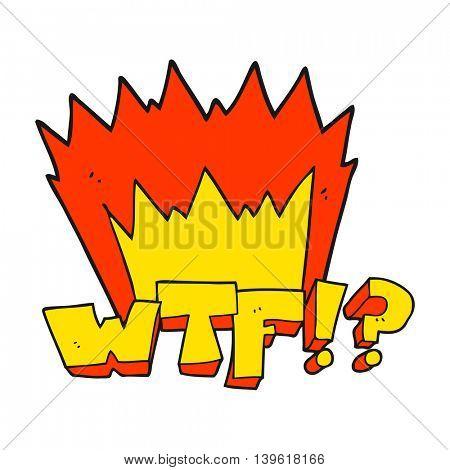 freehand drawn cartoon WTF symbol
