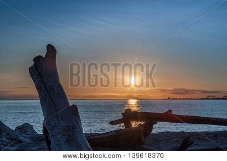 sunset over driftwood in Point Roberts Washington state USA