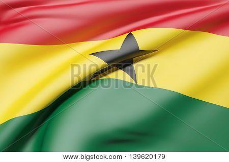 Republic Of Ghana Flag Waving