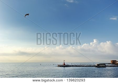 Lighthouse in the mediterranean sea Naples Italy