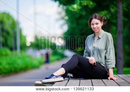 Girl caucasian happy smile and enjoy her day in the park