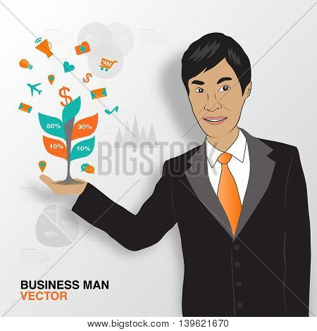 Business man and infographics asian man smile vector