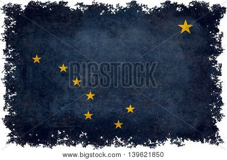 Alaskan state flag with distressed vintage textures and edges