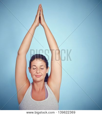 Meditating Young Yoga Woman In Prayer Position