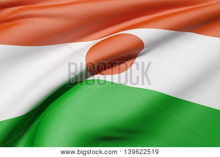 Republic Of Niger Flag Waving