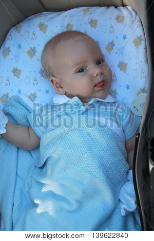 Cute one month old baby boy