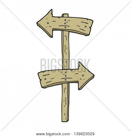 freehand drawn cartoon wooden direction sign