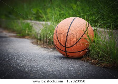 Basketball on the pavement at the side of the road in the grass.