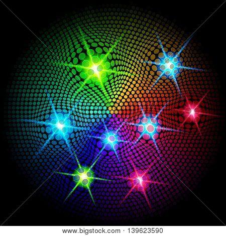 Shiny sparkling colorful lights on dark background