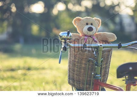 Lovely Brown Teddy Bear In Rattan Basket On Vintage Bike In Green Field With Lens Flare. Warm Toning