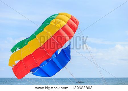Parasailing beach umbrella on sky background in Phuket Thailand