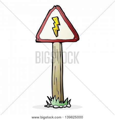 cartoon electrical warning sign