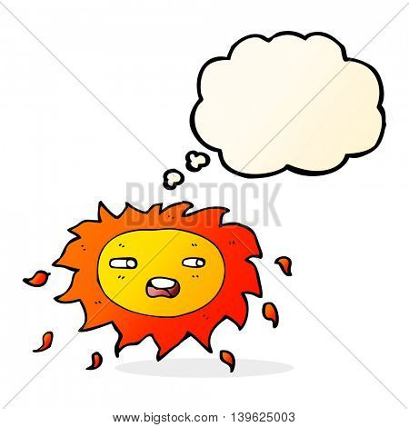 cartoon sad sun with thought bubble