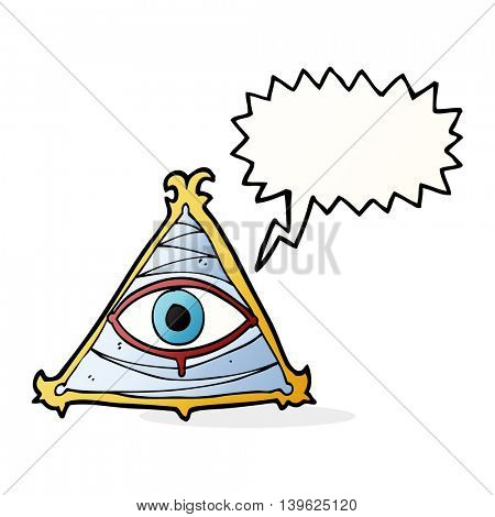 cartoon mystic eye symbol with speech bubble