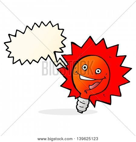 happy flashing red light bulb cartoon  with speech bubble
