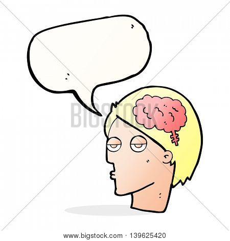 cartoon head with brain symbol with speech bubble