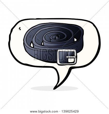 cartoon leather belt with speech bubble