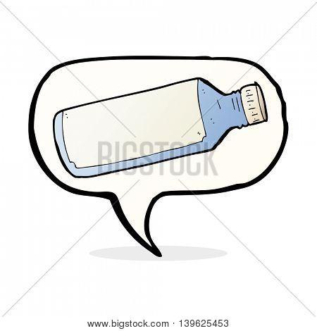 cartoon water bottle with speech bubble