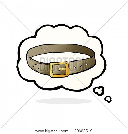 cartoon leather belt with thought bubble