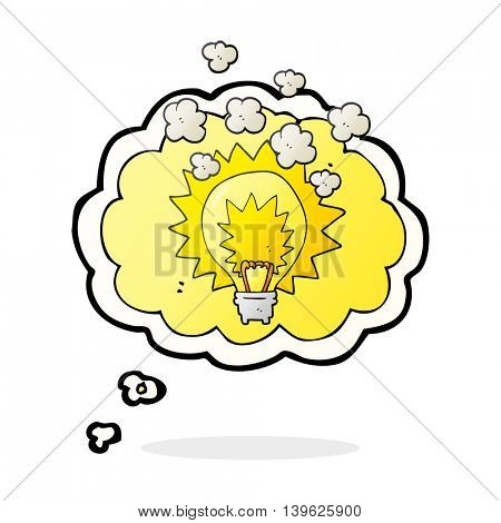 freehand drawn thought bubble cartoon light bulb shining