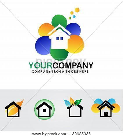 Real estate logo vector design,isolated on white.Home sale