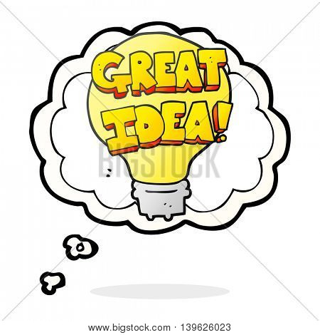 freehand drawn thought bubble cartoon great idea light bulb symbol